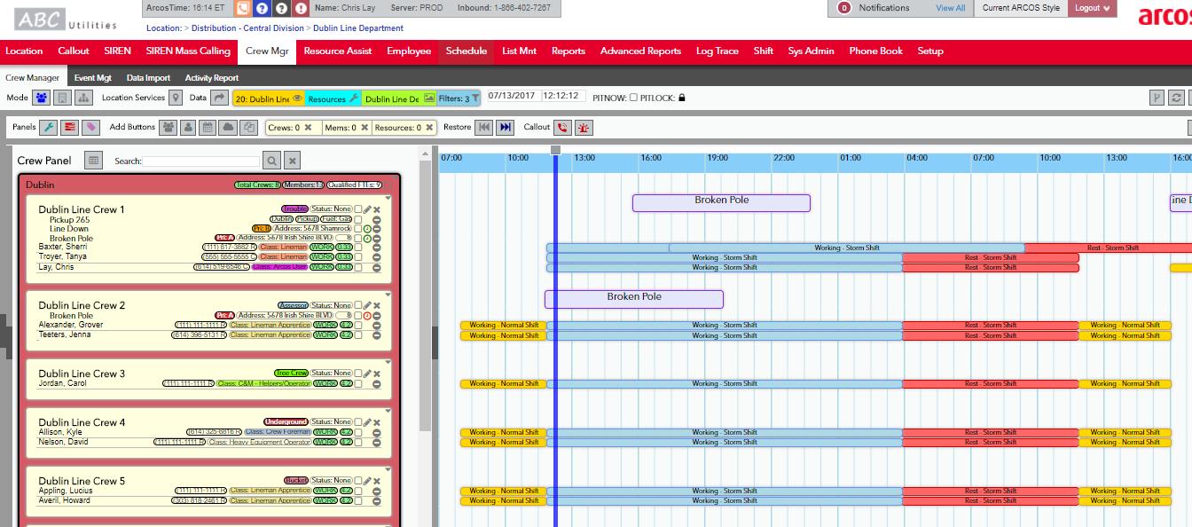 Crew Manager Timeline Dashboard